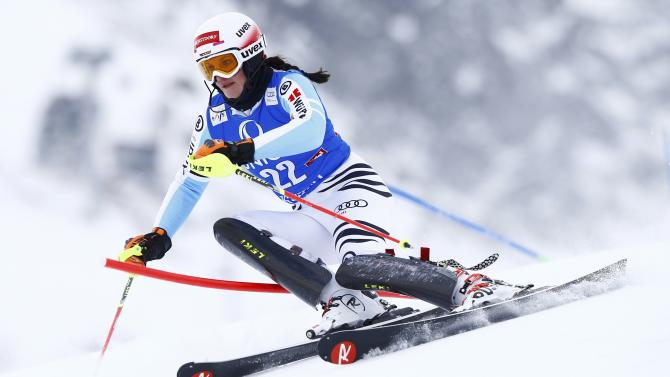 Geiger from Germany clears a gate during the first run of the World Cup Women's Slalom race in Kuehtai ski resort