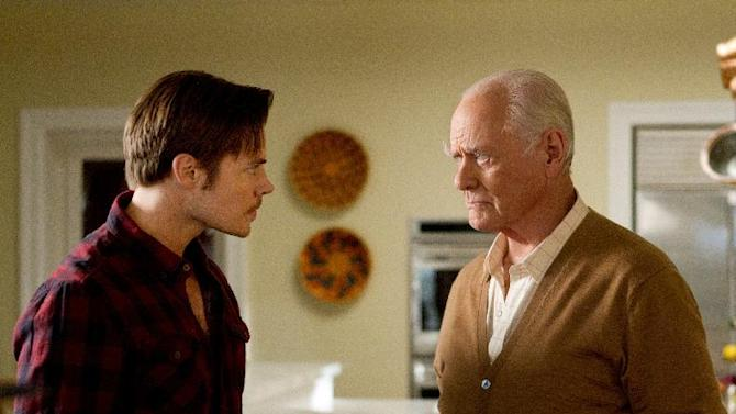 """This publicity image released by TNT shows, Josh Henderson as John Ross Ewing, left, and Larry Hagman as J.R. Ewing in a scene from """"Dallas,"""" premiering Wednesday June 13, at 9:00 p.m. EST on TNT. (AP Photo/TNT, Zade Rosenthal)"""