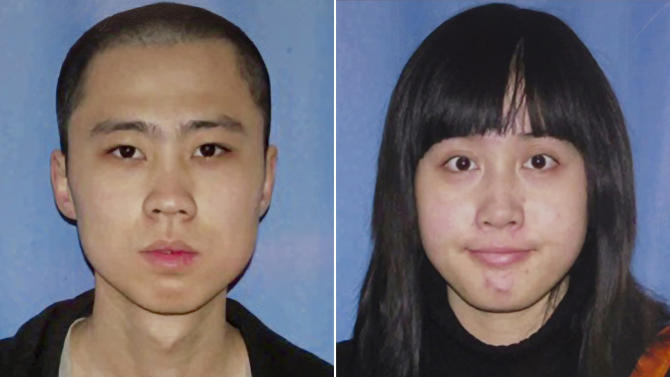 This combo made from undated file photos released by the Los Angeles Police Department on Friday, April 13, 2012 shows shooting victims Ming Qu, left, and Ying Wu. Los Angeles police on Friday, May 18, 2012 arrested two young men in the killings of the Chinese graduate students who were shot to death near the University of Southern California campus last month. (AP Photo/Los Angeles Police Department, File)