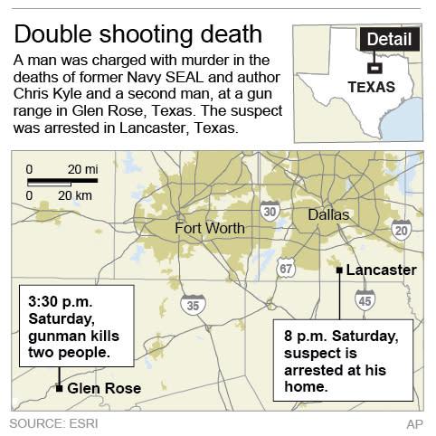 Map showns path of texas gunman following a double shooting