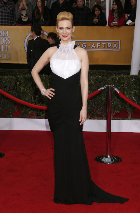 January Jones arrives at the 19th Annual Screen Actors Guild Awards at the Shrine Auditorium in Los Angeles on Sunday Jan. 27, 2013. (Photo by Todd Williamson/Invision for The Hollywood Reporter/AP Im