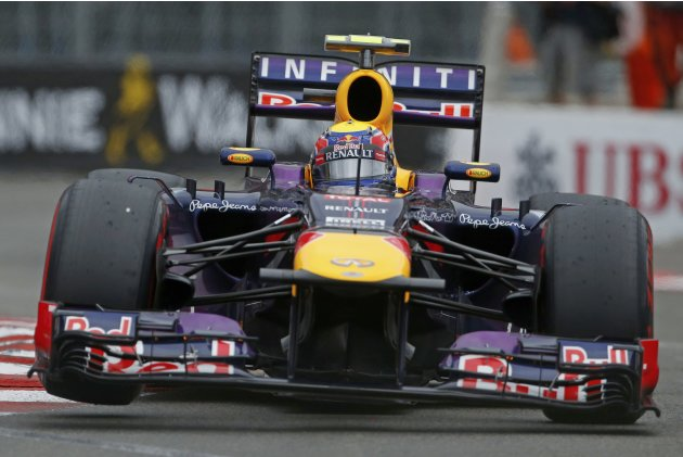Red Bull Formula One driver Mark Webber of Australia steers his car during the qualifying session of the Monaco F1 Grand Prix