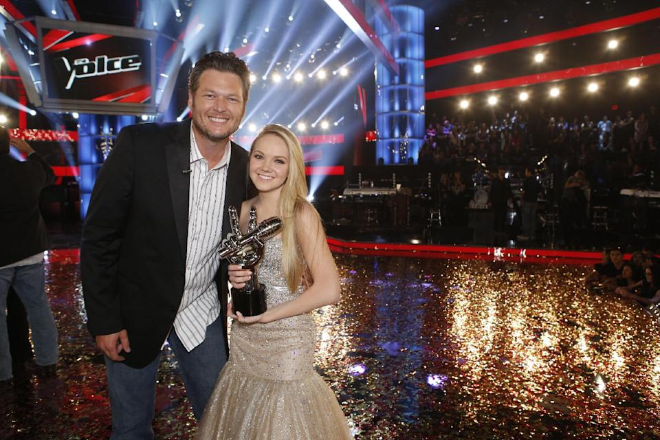 "In this image provided by NBC Blake Shelton and Danielle Bradbery pose after she won season-four of ""The Voice"" Tuesday June 18, 2013. Bradbery never had a big singing gig or a vocal lesson. It's also the third win for her coach Blake Shelton.  (AP Photo?NBC, Trae Patton)"