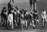 The Israeli Olympic team marches in the Munich Olympic stadium on September 6, 1972, as they pay tribute to their 11 teammates killed by Palestinian terrorists the day before. The self-proclaimed Palestinian mastermind of the 1972 Munich Olympic massacre among Israeli athletes was aided by a German neo-Nazi, Spiegel online reported on Sunday