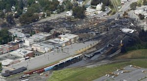A aerial view of the wreckage of the crude oil train is seen in Lac Megantic