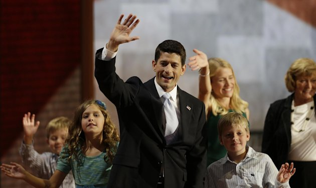 Republican vice presidential nominee, Rep. Paul Ryan waves with his family, from left, Sam, Liza, wife Janna, Charlie and mother Betty Ryan Douglas after his acceptance speech during the Republican National Convention in Tampa, Fla., on Wednesday, Aug. 29, 2012. (AP Photo/Charlie Neibergall)