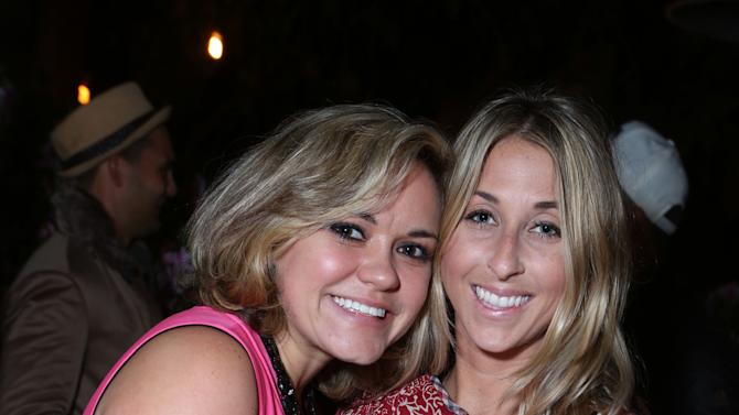 """Lindsay Myers and Hannah Soboroff at Brad Goeski dinner at Levi's Haus for """"It's a Brad Brad World"""", on Tuesday, March, 19, 2013 in Los Angeles. (Photo by Alexandra Wyman /Invision for Levi's/AP Images)"""