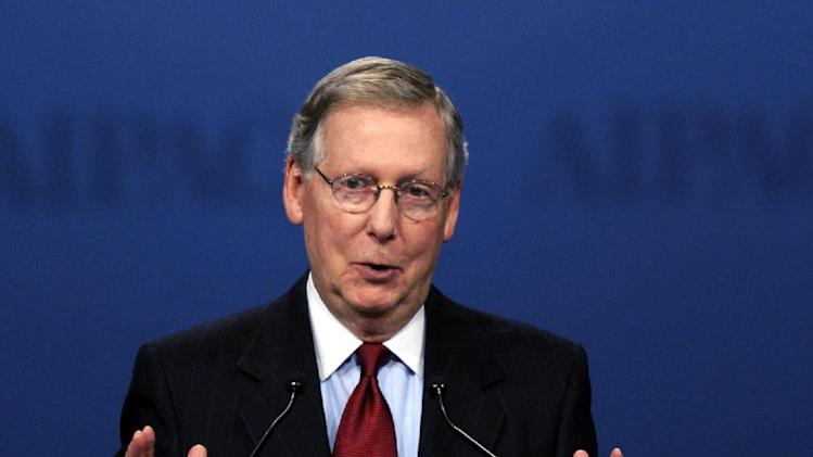 Senate Minority Leader Mitch McConnell, R-Ky., addresses the American Israel Public Affairs Committee (AIPAC) Policy Conference opening plenary session in Washington, Monday, March 5, 2012. (AP Photo/Cliff Owen)