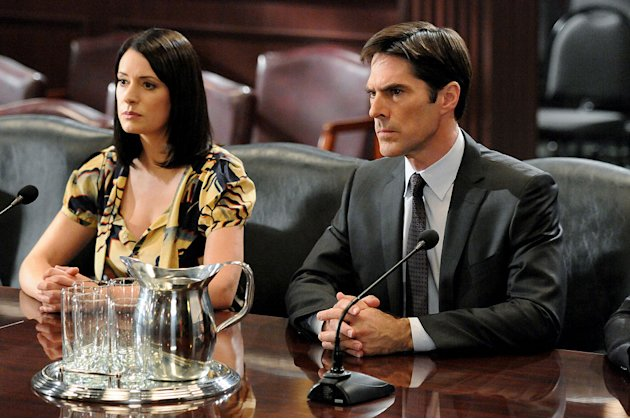 """It Takes A Village"" -- Prentiss (Paget Brewster) and Hotchner (Thomas Gibson) are questioned by a Senate Committee for their actions surrounding Prentiss' assumed death and disappearance, on the seve"