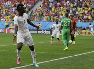 Asamoah Gyan celebrates after scoring Ghana's only goal against Portugal. (AP)