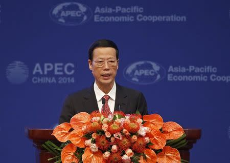 Chinese Vice Premier Zhang Gaoli makes a speech at the APEC finance ministers meeting in Beijing