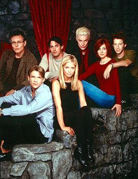 Front Row - Marc Blucas, Sarah Michelle Gellar, Alyson Hannigan, Seth Green Back Row - Anthony Stewart Head, Nicholas Brendon, James Marsters of Buffy The Vampire Slayer