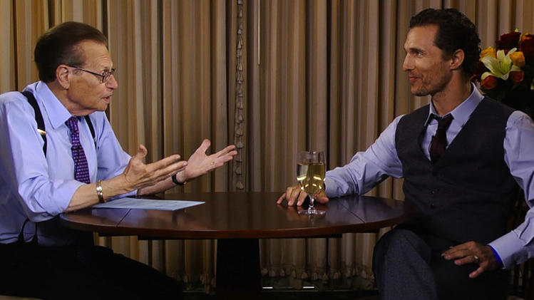"This image released by Hulu shows host Larry King interviews actor Matthew McConaughey during an interview on ""Larry King Now,"" a new online show from the former CNN anchor that's being produced by Ora TV.  (AP Photo/Hulu)"