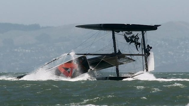 An Oracle Racing boat capsizes in San Francisco Bay (Reuters)