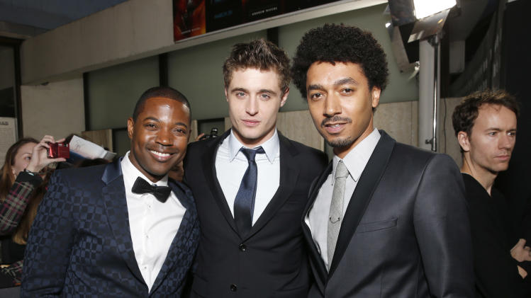 "Stephen Rider, Max Irons and Shawn Carter Peterson arrive at the LA premiere of ""The Host"" at the ArcLight Hollywood on Tuesday, March 19, 2013 in Los Angeles. (Photo by Todd Williamson/Invision/AP)"