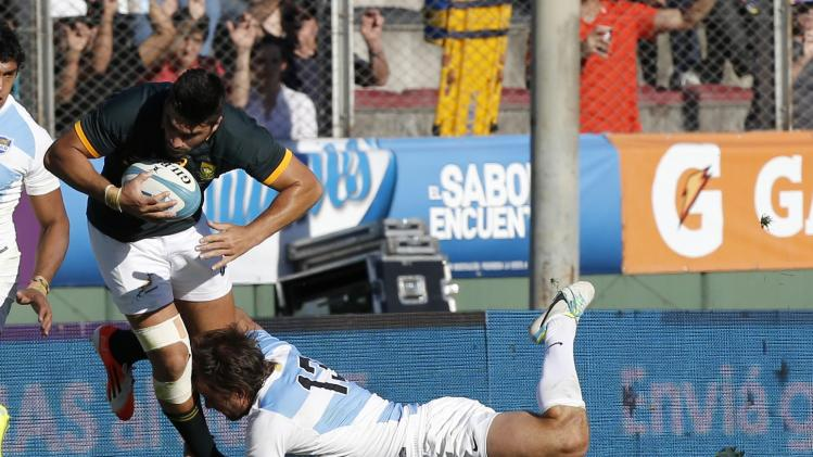 South Africa's Willie le Roux is tackled by Argentina's Bosch during their Rugby Championship match at the Padre Ernesto Marte arena stadium in Salta