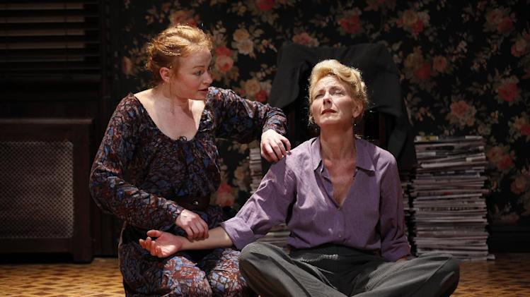 "This theater publicity photo released by Jim Randolph Media Relations shows, from left, Gretchen Hall and Leslie Hendrix in a scene from ""7th Monarch,"" a play by Jim Henry currently performing off-Broadway at Theatre Row in New York.  (AP Photo/Jim Randolph Media Relations, Carol Rosegg)"