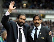 Blackburn Rovers owners Balaji Rao (L) and Venkatesh Rao (R), Directors of Venky&#39;s, take to the pitch at Ewood Park, Blackburn, on November 21, 2010. Blackburn global advisor Shebby Singh has rubbished claims that a Bollywood actor is a candidate to become the Championship club&#39;s manager