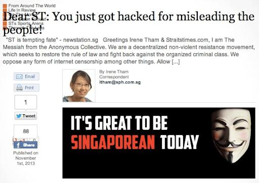 Straits Times hacked by anonymous Singapore's the messiah