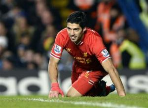 Liverpool's Suarez reacts during their English Premier League soccer match against Chelsea in London