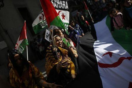 Protesters take part in a demonstration in support of Western Sahara's independence, in Madrid