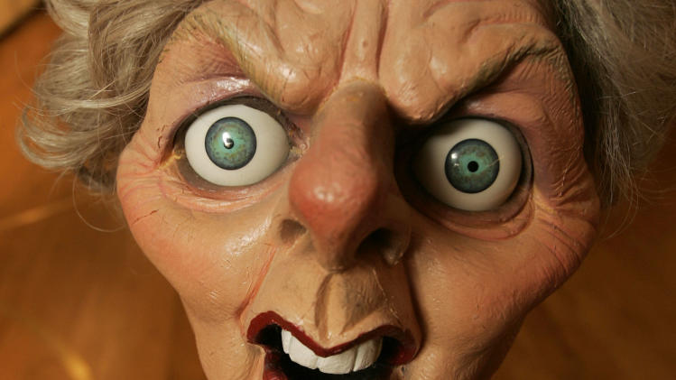 FILE - This is a Wednesday, Nov. 7, 2007 file photo of  a Spitting Image puppet of former British prime minister Margaret Thatcher now Baroness Thatcher's, at Christie's auction house in London,    Spitting Image was a satirical puppet show televised in Britain in the 1980's and 1990's. Former British Prime Minister Margaret Thatcher, whose conservative ideas made an enduring impact on Britain died Monday April 8, 2013. She was 87. (AP Photo/Alastair Grant, File)