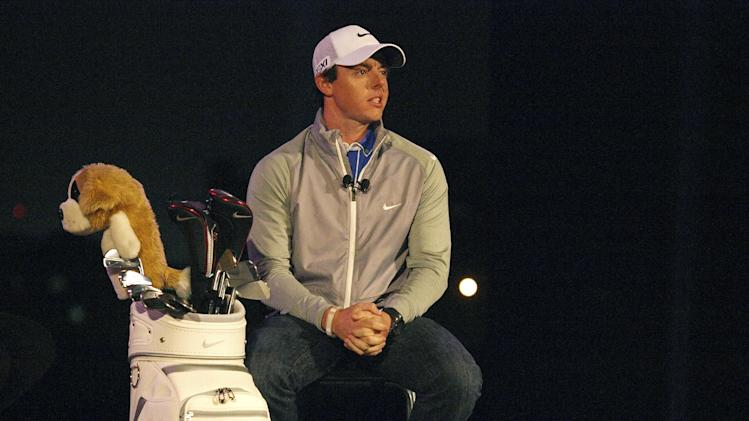 Current World Number One golf champion Rory McIlroy talks to the journalists during a press conference announcing his partnership with Nike ahead of the 2013 edition of the Abu Dhabi HSBC Golf championship in Abu Dhabi, United Arab Emirates, Monday, Jan. 14, 2013. (AP Photo/Manuel Salazar)