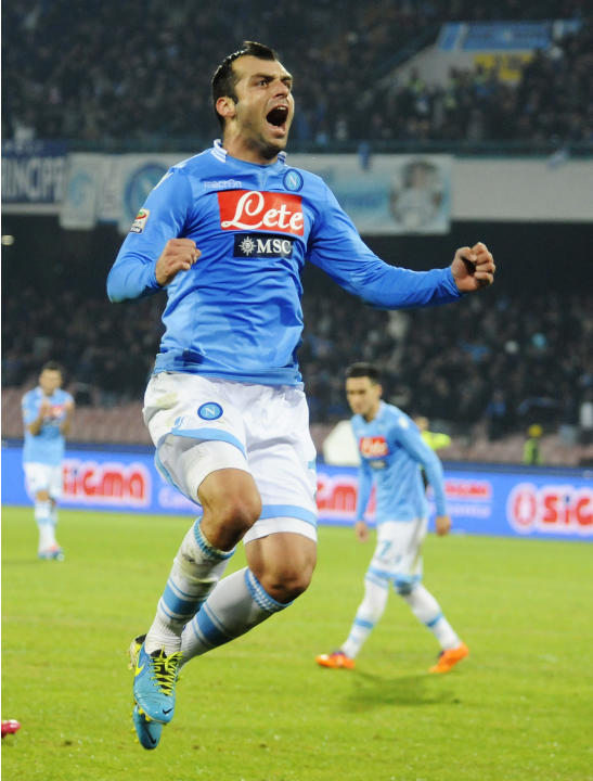 Napoli's Goran Pandev, of Macedonia, celebrates after scoring during a Serie A soccer match between Napoli and Udinese, at the San Paolo stadium in Naples, Italy, Saturday, Dec. 7, 2013