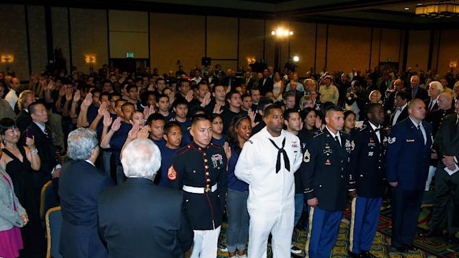 Over one hundred inductees sworn into active duty to all branches of the military are seen during Keeping the Promise presented by California Disabled Veterans Business Alliance at Marriott Hotel on Monday May 14, 2012. (Joe Kohen/AP IMAGES FOR KPP)