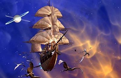 "The solar galleon, the RLS Legacy, soars through the Etherium escorted by a flock of Mantabirds on an expedition to uncover the ""loot of a thousand worlds"" in Disney's Treasure Planet"