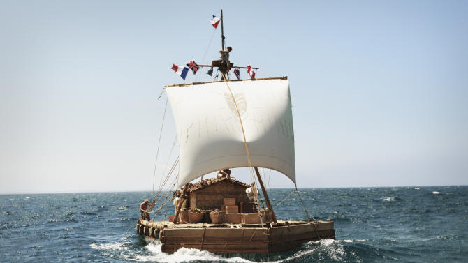 """This film image dated July 2011 made available by Nordisk Film Distribusjon AS on Thursday Jan 10 2103 shows a scene from the Norwegian film """"Kon-Tiki."""" The film was nominated for an Academy Award for best foreign picture on Thursday, Jan. 10, 2013.  The 85th Academy Awards will air live on Sunday, Feb. 24, 2013 on ABC.  (AP Photo/ Carl Christian Raabe / Nordisk Film Distribusjon AS via NTB scanpix)"""