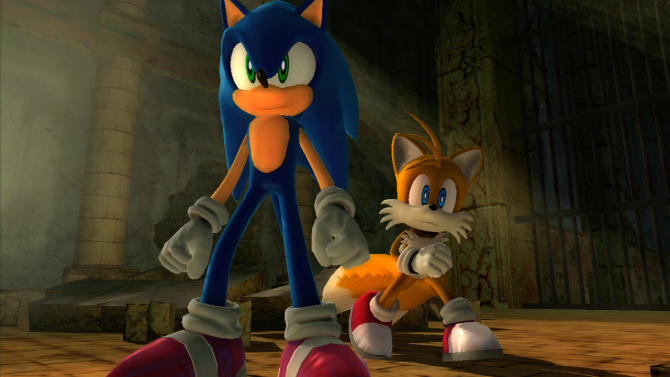 """FILE - This undated publicity image released by courtesy of game publisher Sega, shows Sonic, left, and sidekick, Tails, in the 2006 video game """"Sonic the Hedgehog,"""" for the Xbox 360 and PlayStation 3. Sega says it will exclusively release the next three games starring the iconic blue critter on Nintendo platforms. (AP Photo/Sega)"""