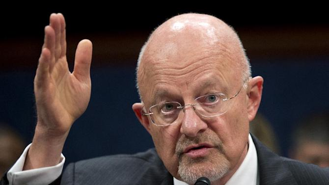 National Intelligence Director James Clapper testifies on Capitol Hill in Washington, Thursday, April 11, 2013, before the House Intelligence Committee hearing on worldwide threats.   (AP Photo/Manuel Balce Ceneta)