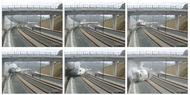 A train derails in this series of still images from the video of a security camera near Santiago de Compostela