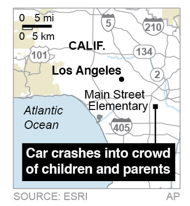 Map locates a Los Angeles elementary school where a car crashes into a crowd of children and parents