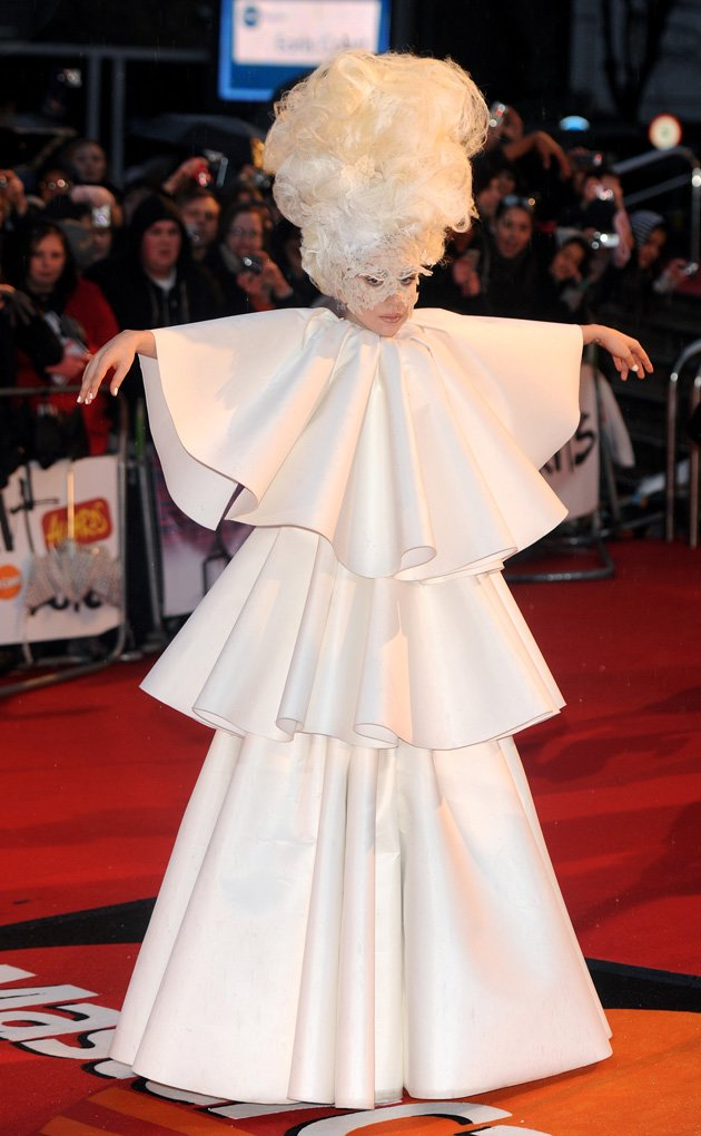 Gaga was all in white for …
