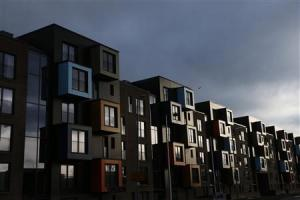 Apartment housing blocks are seen in Govan, Glasgow, Scotland