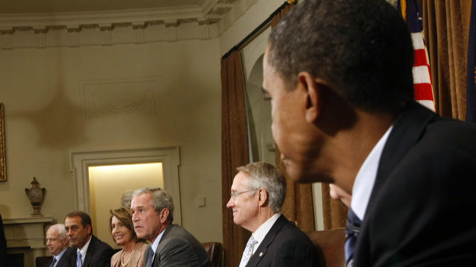 """** HOLD FOR RELEASE UNTIL 12:01 AM EST TUESDAY NOV. 30, 2010 ** FILE - In this Sept. 25, 2008, file photo President Bush, center, meets with congressional leaders, including Republican presidential candidate Sen. John McCain, R-Ariz., left, and Democratic presidential candidate Sen. Barack Obama, D-Ill., right, in the White House Cabinet Room to discuss the proposed bailout of the financial industry. Of the meeting Bush wrote in his memoir, """"what had started as a drama quickly descended into a farce. Tempers flared. Voices were raised. Some barbs were thrown. I was watching a verbal food fight, which would have been comical except that the stakes were so high."""" From left, McCain, Minority Leader John A. Boehner, R-Ohio, Speaker of the House Nancy Pelosi, D-Calif., and Senate Majority Leader Sen. Harry Reid, D-Nev. (AP Photo/Pablo Martinez Monsivais, File)"""