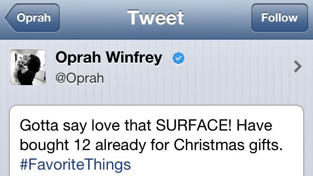 So What if Oprah Used an iPad to Tweet About Microsoft Surface?