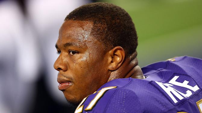 Ray Rice during an NFL game in Arlington, Texas on August 16, 2014