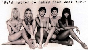 Naomi Campbell and her supermodel buddies in a 1994 PETA ad