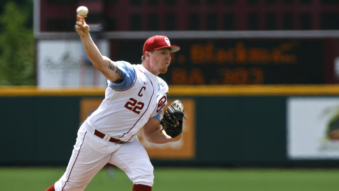 Oklahoma starter Jonathan Gray delivers a pitch against Coastal Carolina in an NCAA regional tournament college baseball game on Friday, May 31, 2013 at English Field in Blacksburg, Va. Grey pitched a complete game in their 7-3 win. (AP Photo/Michael Shroyer)