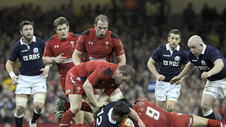 Gethin Jenkins becomes Wales's record cap-holder with 105 caps during their Six Nations Championship rugby union match against Scotland at the Millennium Stadium