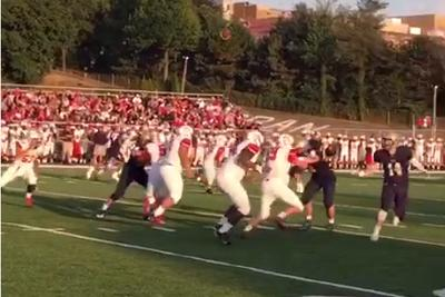 Punt drills lineman who falls over while other team scores return TD