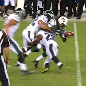 New York Jets running back Alex Green's fumble recovered by Philadelphia Eagles defensive end Brandon Bair