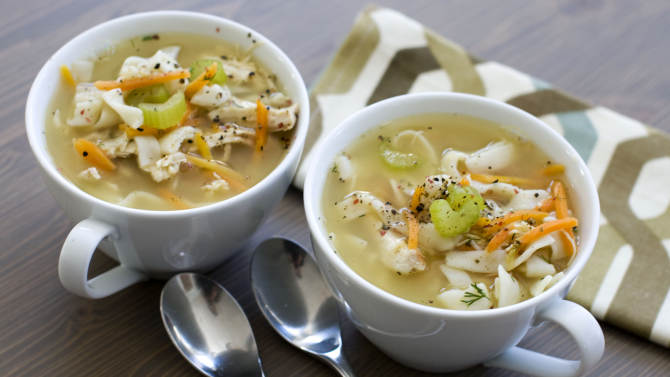 In this image taken on January 7, 2013, chicken and shirataki noodle soup is shown served in bowls in Concord, N.H. (AP Photo/Matthew Mead)