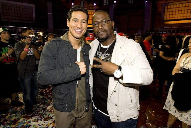 Mario Lopez and Randy Jackson during the live finale of Randy Jackson Presents America's Best Dance Crew on March 27, 2008 in Culver City, California.