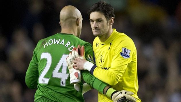 FOOTBALL 2012 Everton-Tottenham (Howard et Lloris)