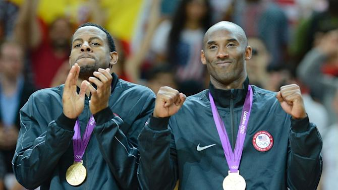 Kobe Bryant (R) was a member of US Olympic gold medal teams in 2008 and 2012