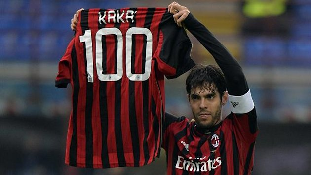 AC Milan's Kaka shows a jersey celebrating his 100th goal for AC Milan during their Italian Serie A soccer match against Atalanta at the San Siro stadium in Milan January 6, 2014 (Reuters)